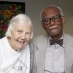 UMB Provost Winston Langley with the late Abbey Elder and Quaker Scholar Elise Boulding