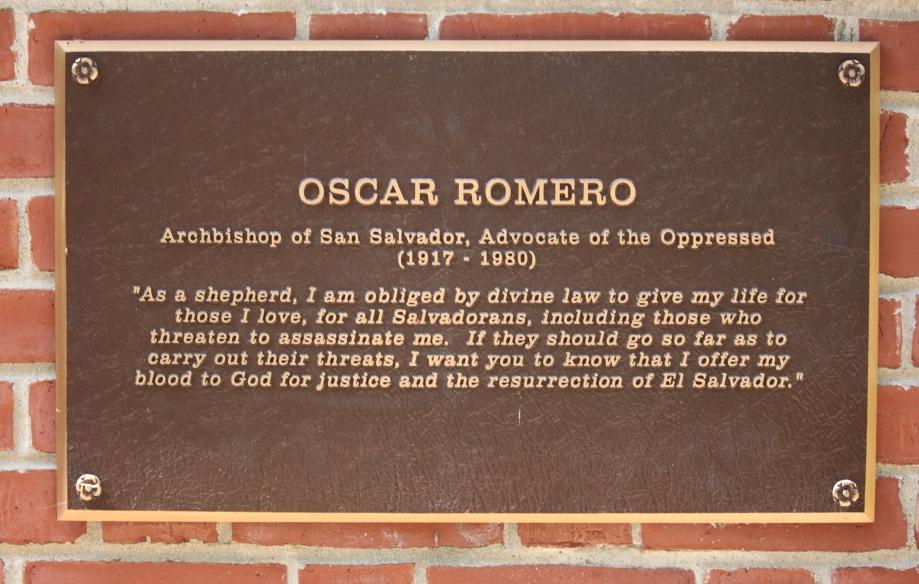 Oscar Romero bronze plaque