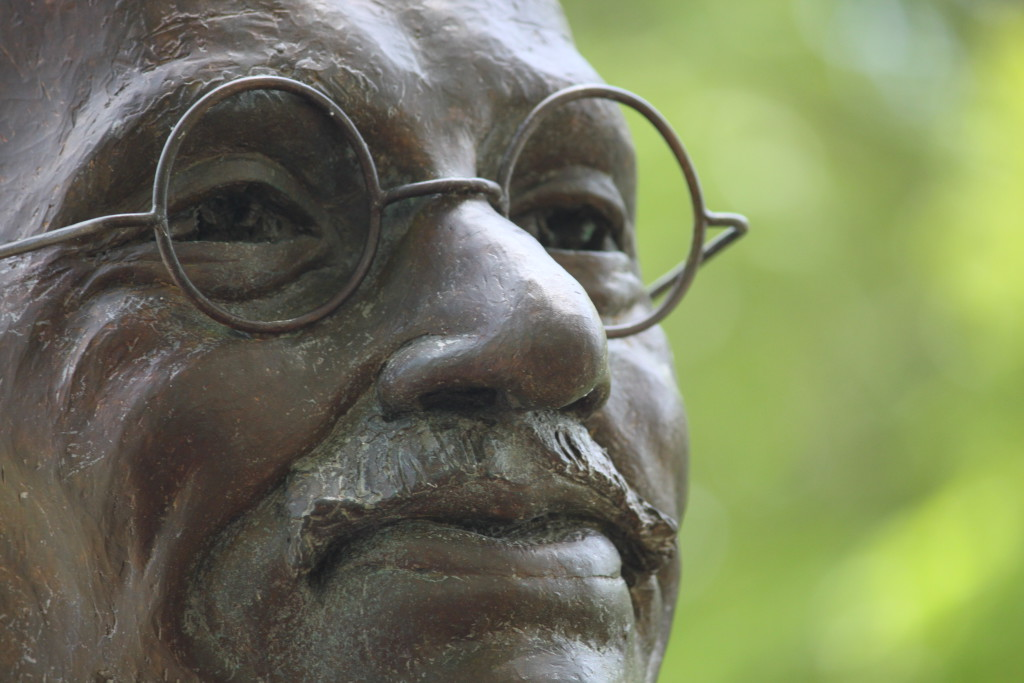 GANDHI, Mohandas K. (Mahatma): Statue in Sherborn, Massachusetts by Lado Goudjabidze