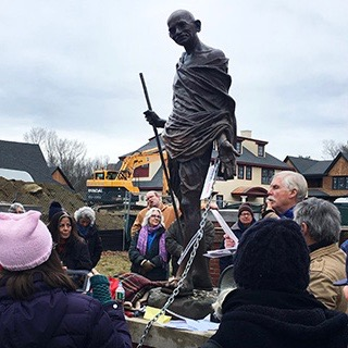 Quaker activist, Bill Holcombe, delivers grievance on Climate Change before being arrested with three other members of the Peace Abbey community for civil disobedience during a Peace Chain action.