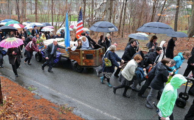 Peace caisson pulling Betsy Sawyer's casket